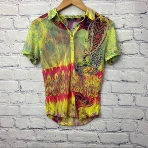 Mexx Ladies Bright Colourful Patterned Blouse
